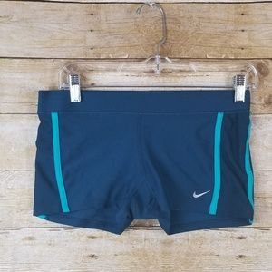 Blue Green Nike Athletic Compression Shorts